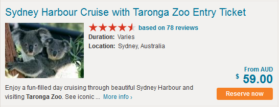 Sydney harbour cruise and taronga zoo tickets