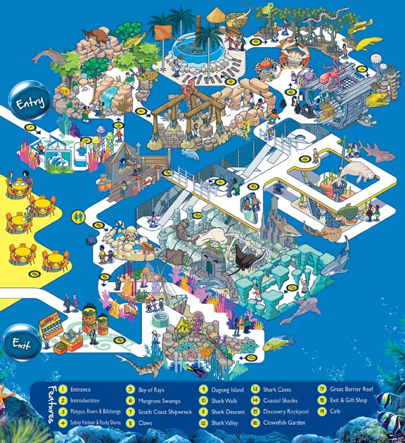 SEA LIFE Sydney Sydney Aquarium exhibit map